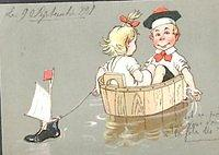 3025532598 5550bd8dd6 Dutch postcard girl and boy in a tub sailboat O