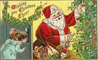 1908 Christmas card children and Santa with toys in his sack O