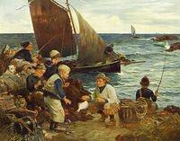 3041878332 3196fdfa68 Dutch painting fishermen children fishing boats O