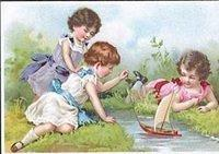 3133380129 d32d1e6ed8 Trade card young girls with a toy sailboat O
