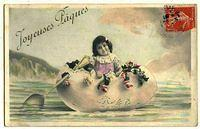 4141368046 4b1cc0de4d French Easter postcard girl in egg boat spoon oar O