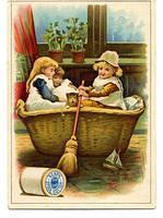 TC Kerr s Cotton Thread two girls with a basket boat O